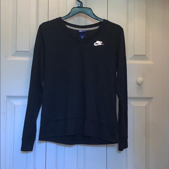 Black Nike Long Sleeve V-neck Long Sleeve Shirt
